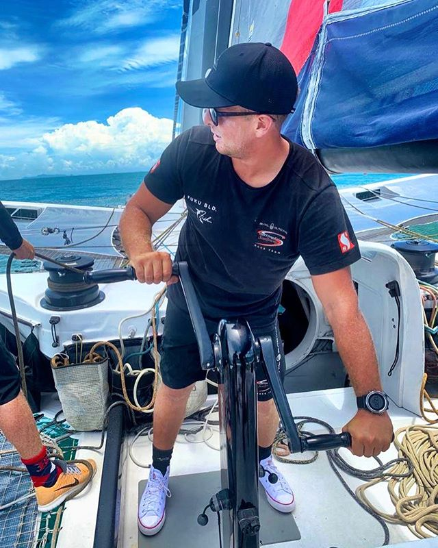 Day 1 Racing in Samui. Light breeze and technically challenging day  #Scallywag #ForeverFish #SHKS #HongKong #SunHungKaiCo #BrandHongKong #FUKUBLD #SailRacingOfficial #GreatBarrierReefFoundation #Clearly #PYSHK #SuperMaxi #Sustainability #CleanTheSeas #AutismOnTheWater #AOTW #SeaDek #We_Are_SunGod @ Koh Samui Island, Thailand 📸 Miles Seddon