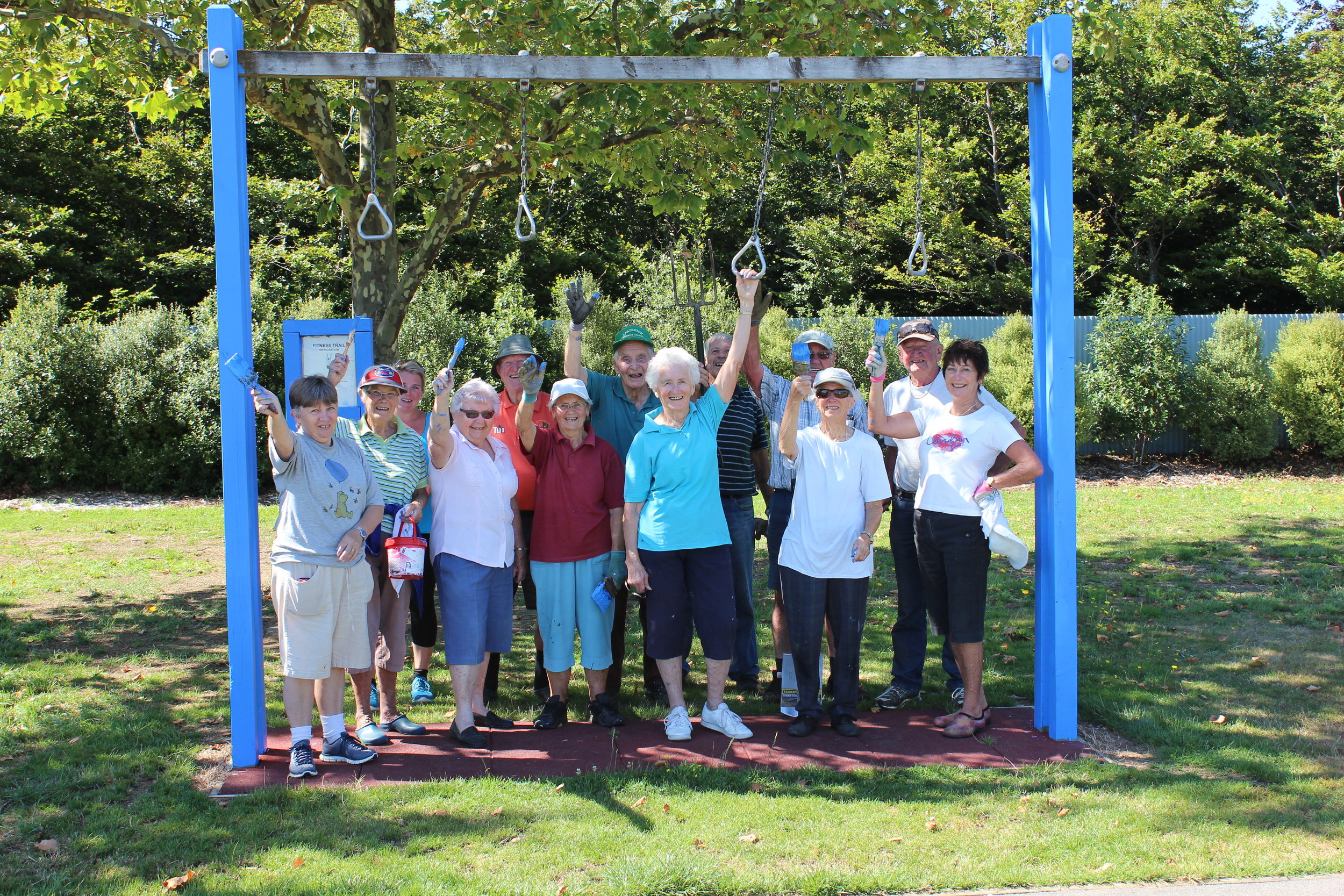 Repainting the exercise equipment at Carrington Park