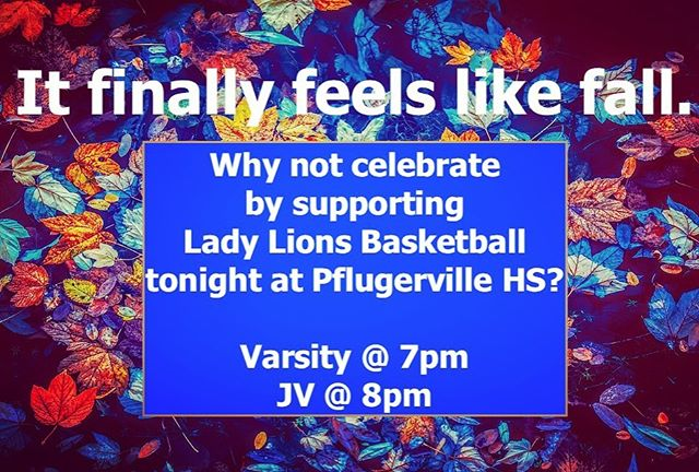 Fall league is happening! Pflugerville HS: Varsity @ 7pm, JV starts at 8pm! See you there!