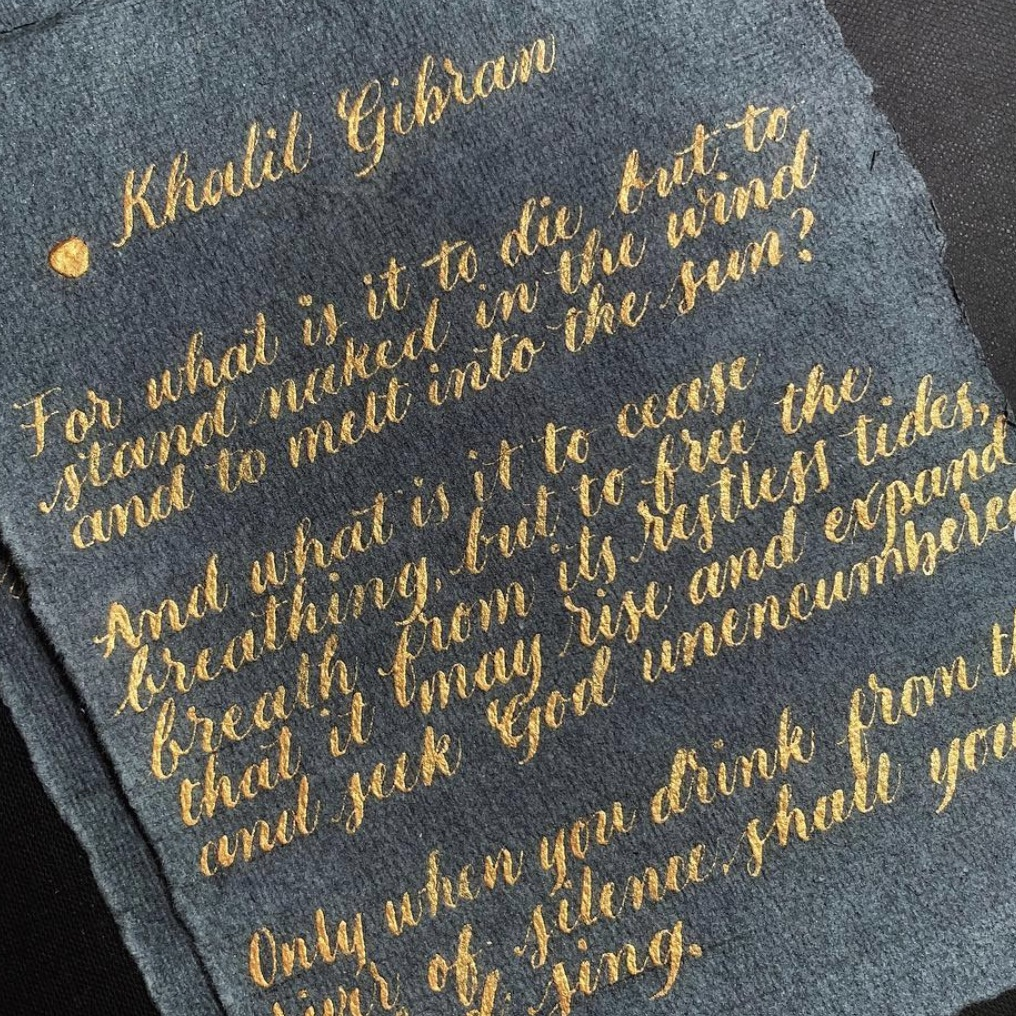 Handwritten Calligraphy - Poem on Handmade Paper