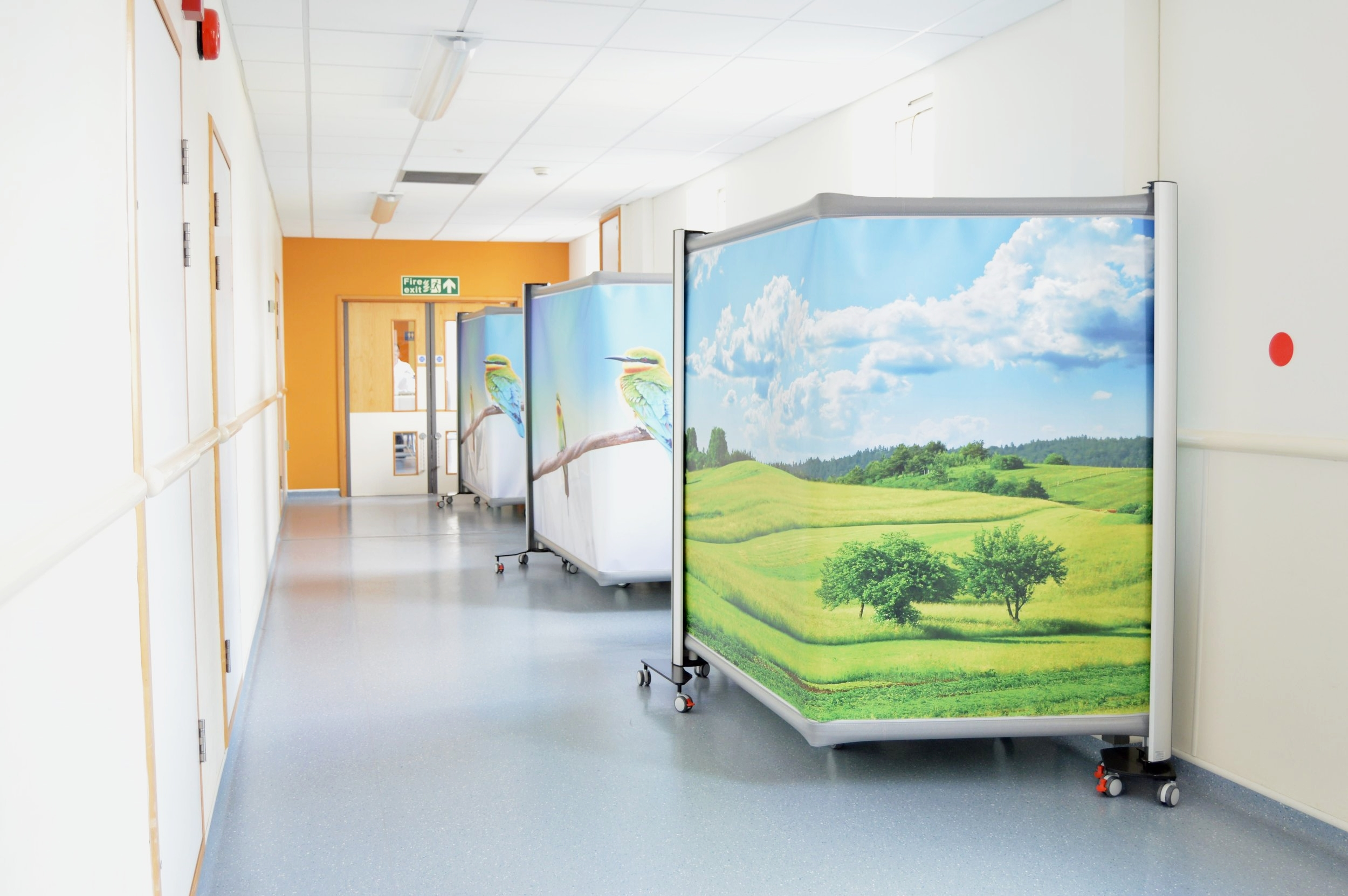 KwickScreen Pros being used to shield hallway beds. Screens are no longer manufactured to bend. Please see    KwickScreen Duo    if you require a corner.