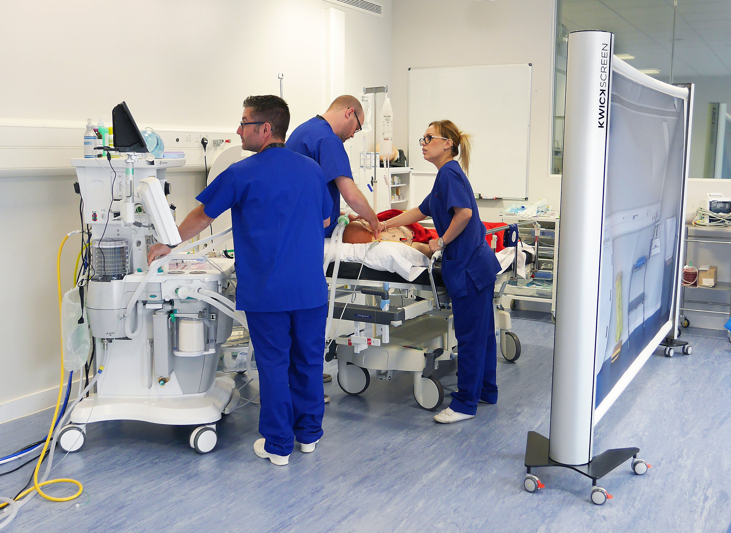 KwickScreens used for aesthetics at Bucks New University Simulation Suite