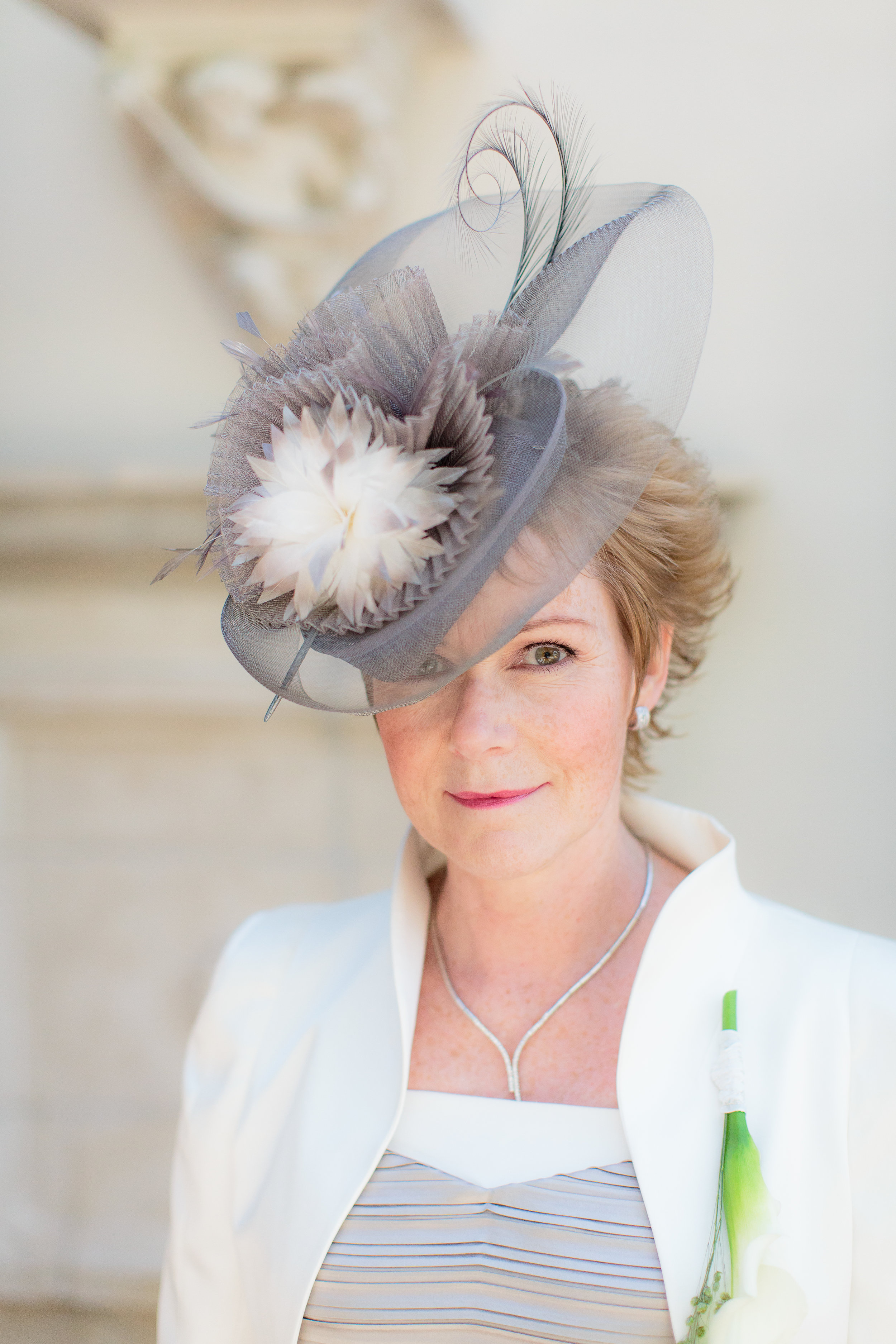 "Morag Fisken   ""My stunning Mother of the Bride hat which Ana Maria designed for me last June; for my daughter Rhona's wedding in Holland. Everyone thought it was beautiful and I felt wonderful wearing it."""