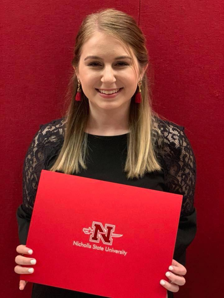 Congrats to Kelsey Gros for being recognized as a Colonel Leader and Scholar tonight. She is consider part of the top 1.5% of students at Nicholls State University in academics and co-curricular activities.  We are so proud of you, Kelsey, and wish you the best. #mustangproud