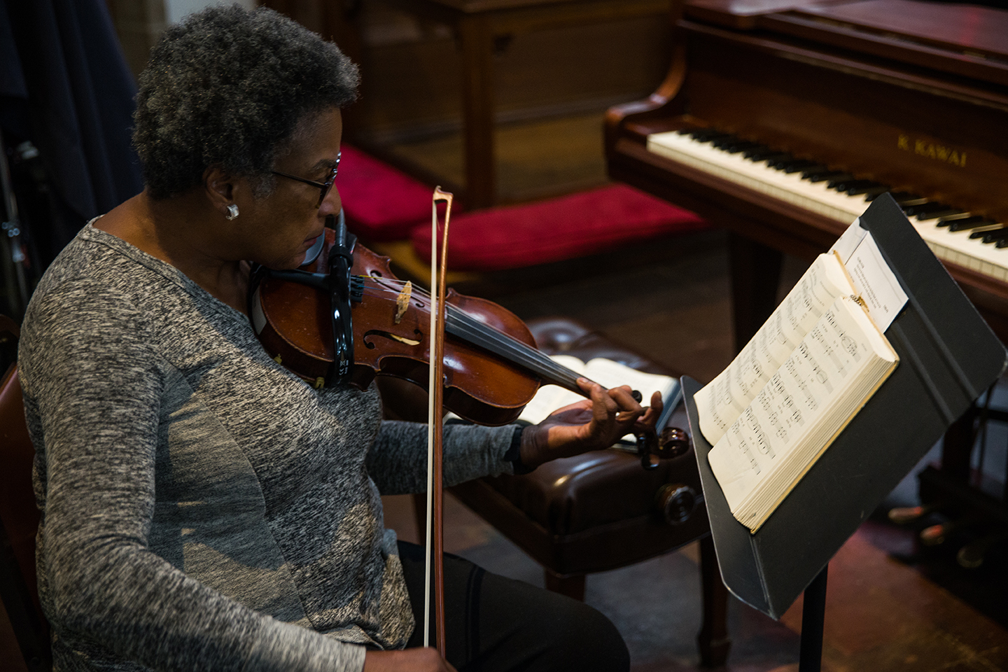 A violinist plays the prelude as worship begins at mckendree umc in Washington d.C.