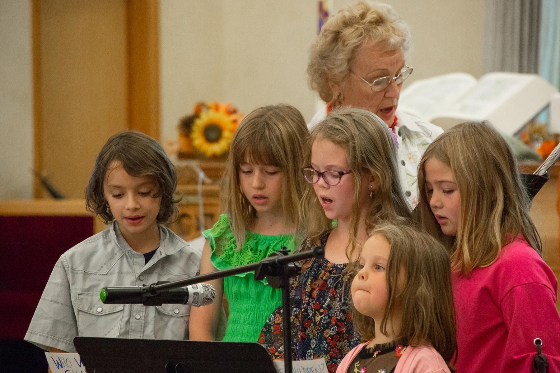 Children sing during worship at FUMC mIssoula, Montana