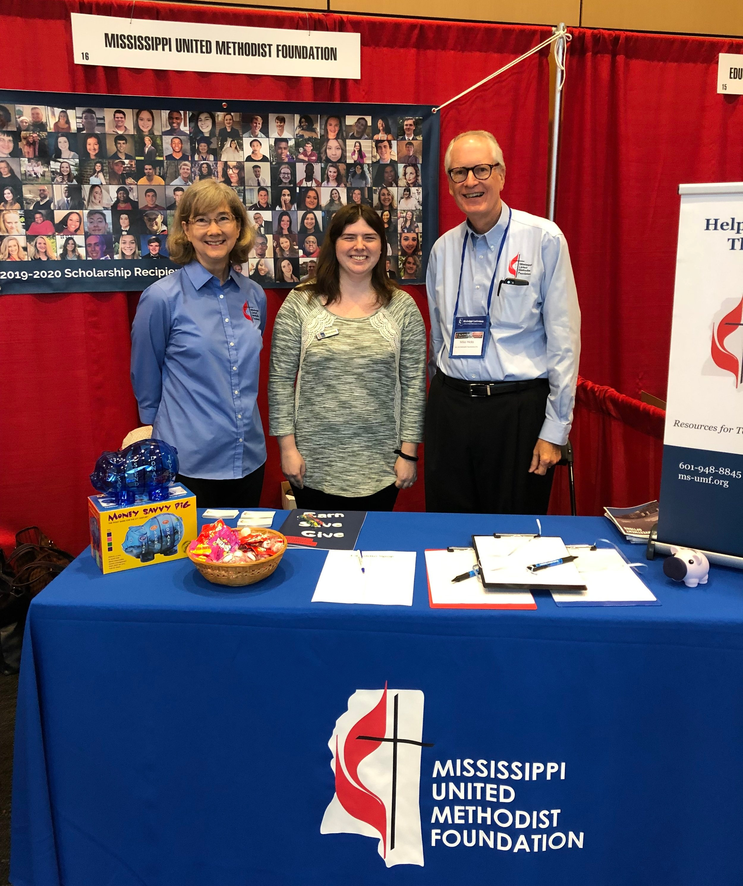 Mary Lee Reed, Melissa Blakely, and Mike Hicks during the 2019 Mississippi Annual Conference