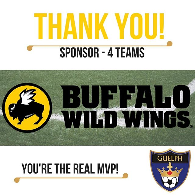 A big thank you to Buffalo Wild Wings for kindly sponsoring Guelph Soccer this summer season. They provided the prize for the player of the game in our House League programs, celebrating your little one's effort all season. Give them some love!