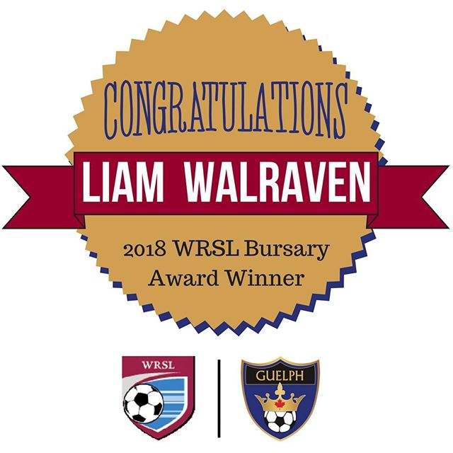 Congratulations for our very own Liam Walraven for being named one of the winners of the 2018 WRSL Bursary Award. Liam's application stood out among many excellent candidates. Well done, Liam!