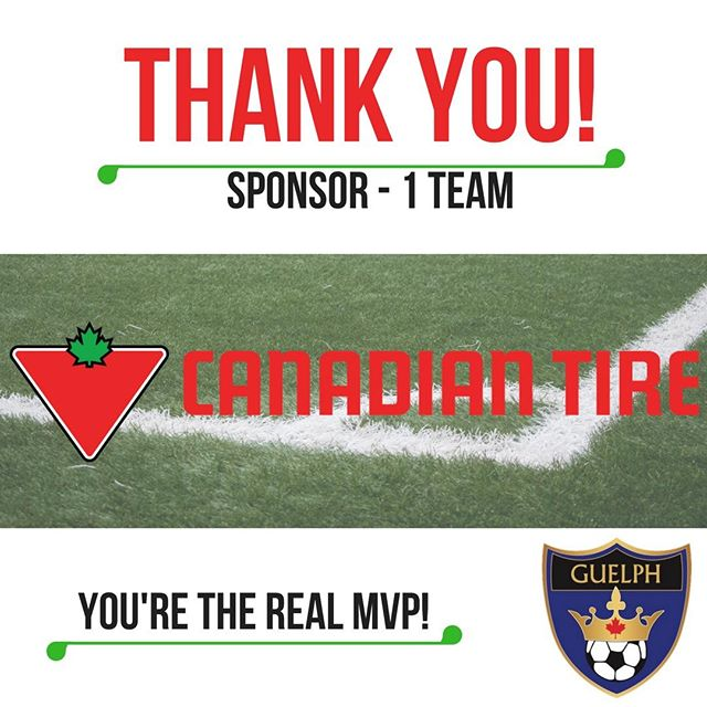 Canadian Tire is known for providing kids all across the country with the opportunity to play sports. They carried on this tradition by once again sponsoring Guelph Soccer. Thank you Canadian Tire!