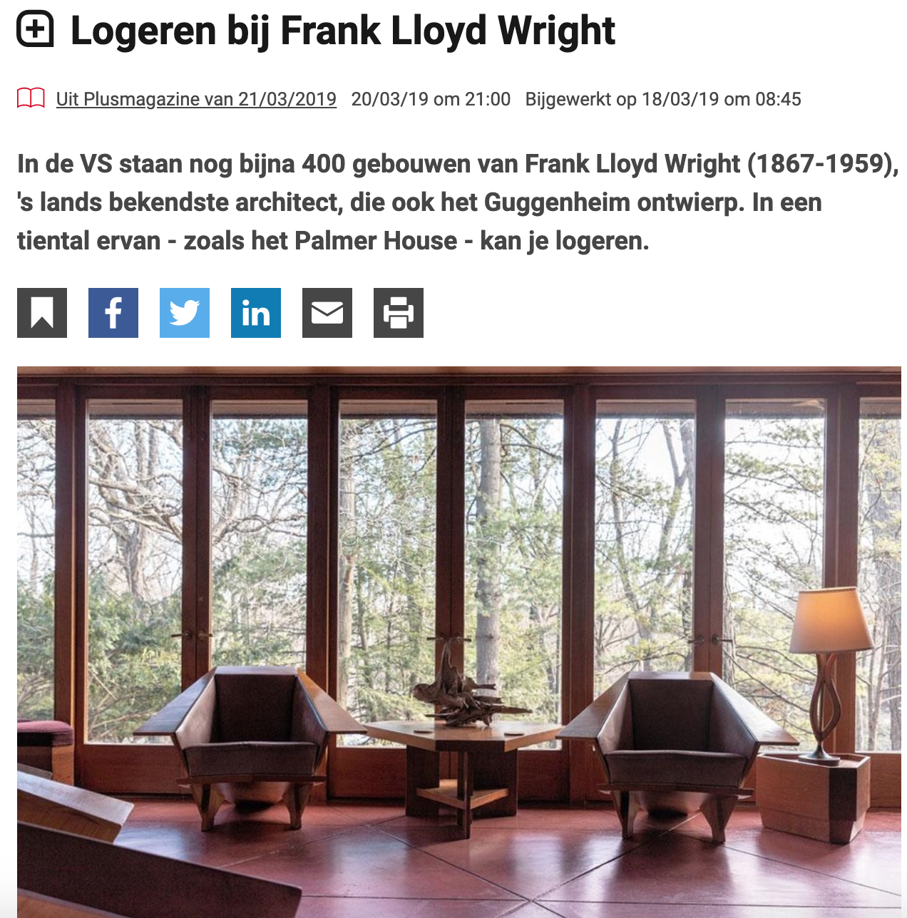 Palmer house in Ann Arbor - Staying the night in a Frank Lloyd Wright house? Yes, you can! I visited Palmer House in Ann Arbor, Michigan, for the Belgian Plus Magazine.