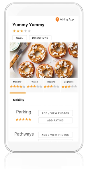 Caption: Ability App Screenshot Showing Accessible Features At A Business And The Accessibility Rating.