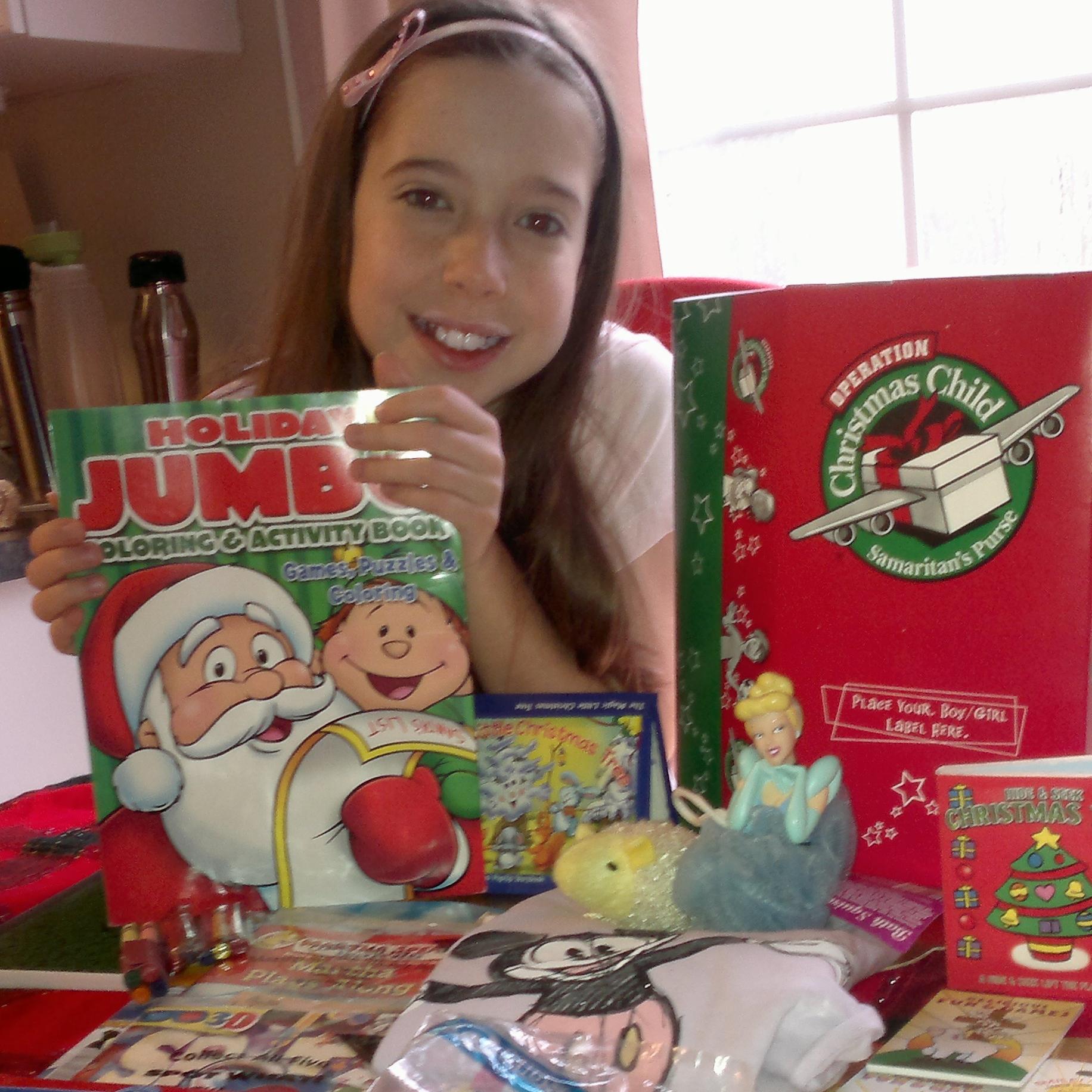 Samaritan's Purse boxes Bella prepared - Dec 2013