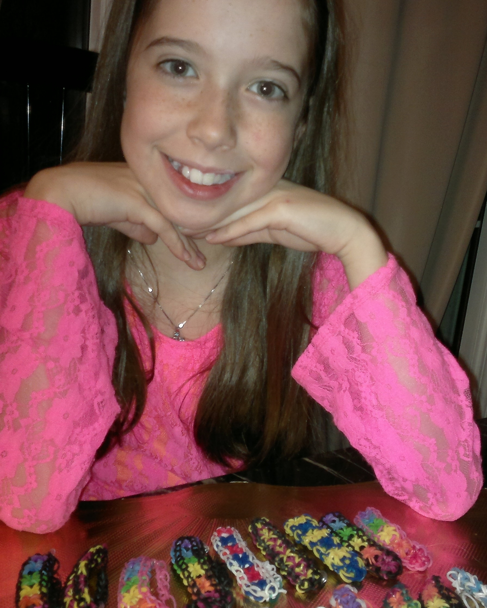 """Bella with loom bands she made to raise money for """"Joe"""" - Dec 2013"""