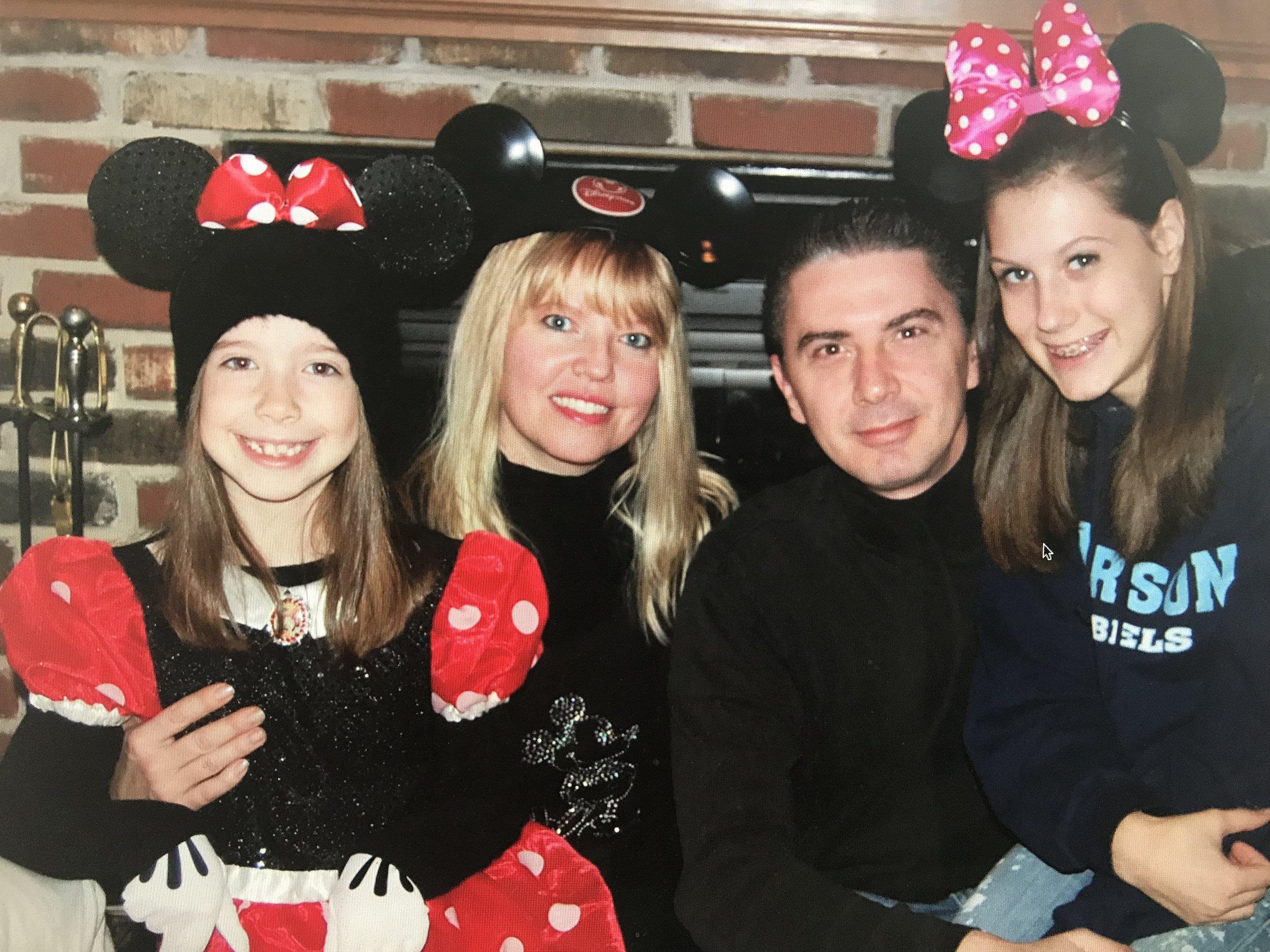 "Bella, Brenda, Dorin and Julia wearing their ""Mickey Mouse"" ears"