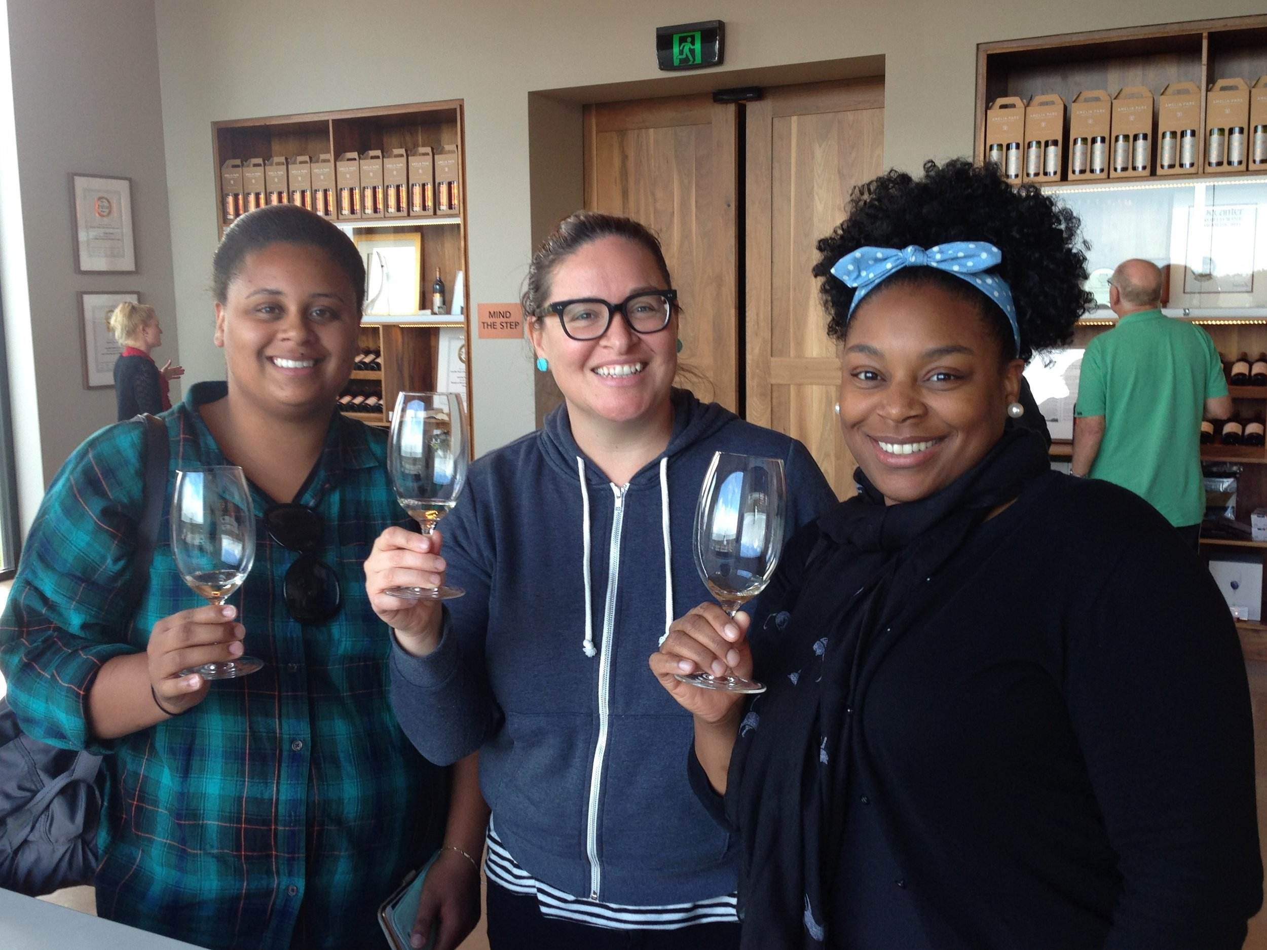 3 girls with glasses at Amelia Park Cellar Door.JPG