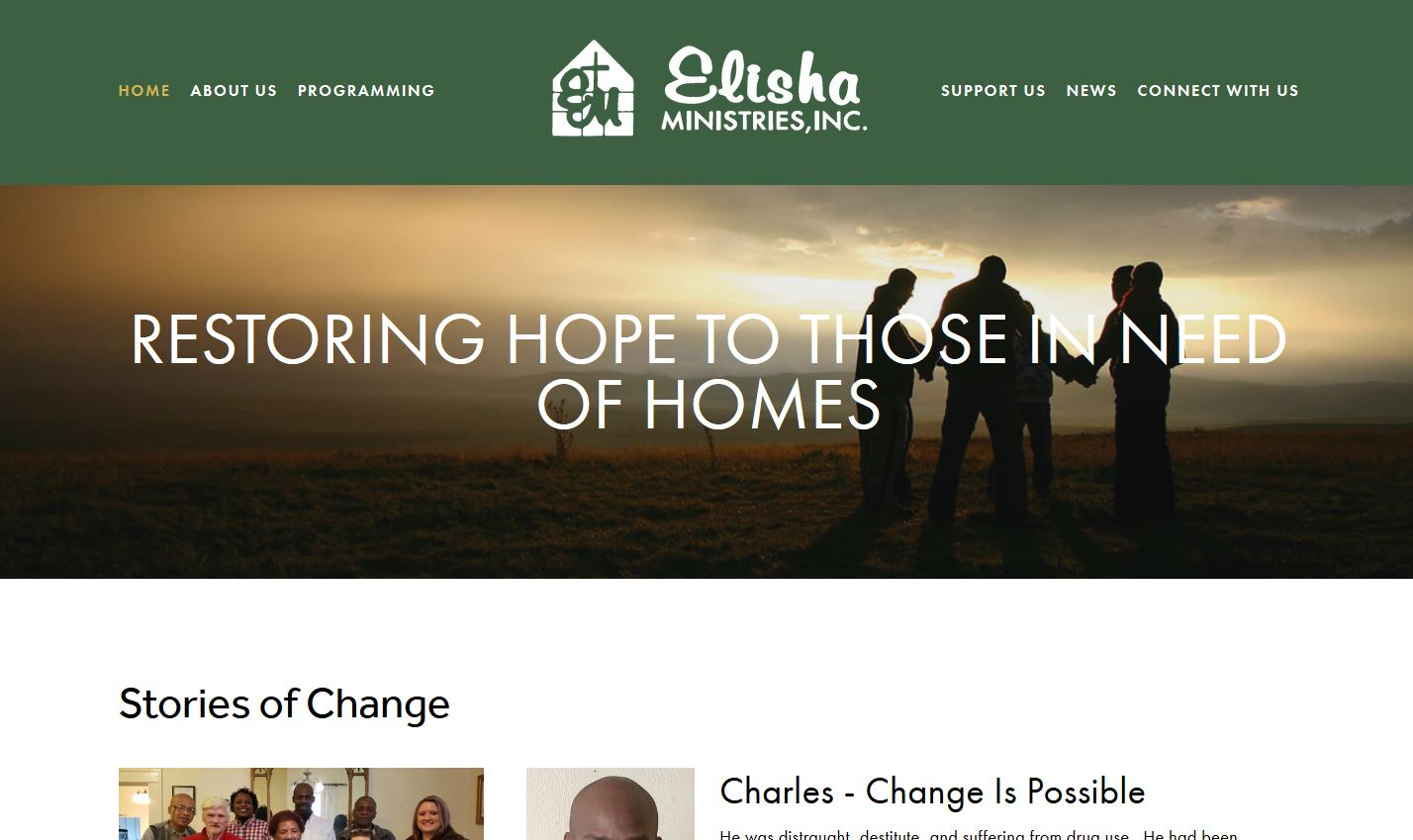 Elisha Ministries' home page on their new site!