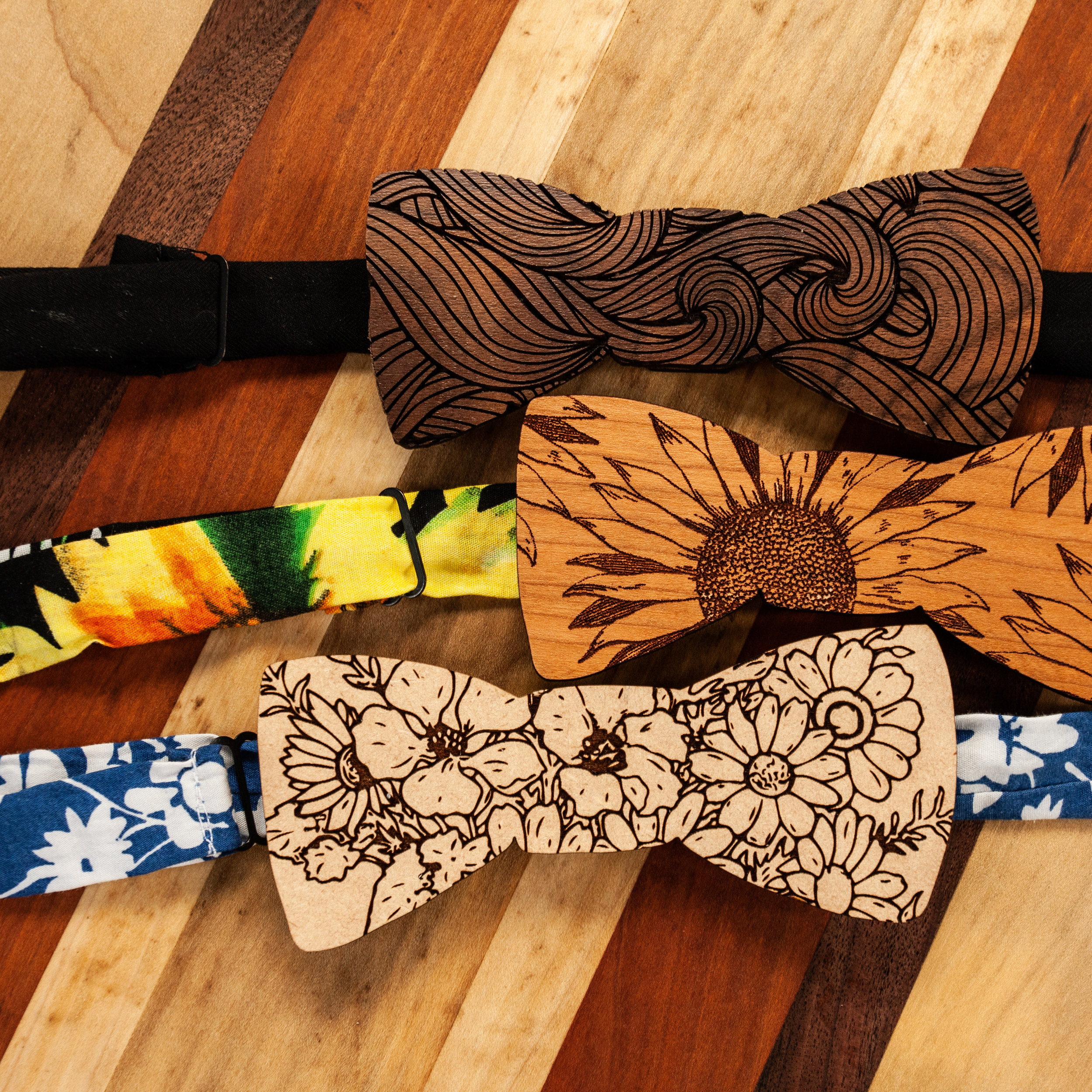 No. 1 BowTies - Laser Engraved Wooden Bow Ties