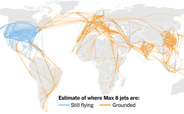 Boeing 737 Max 8 Jets Are Grounded Nearly Everywhere. The jets typically make more than 8,500 flights per week worldwide.