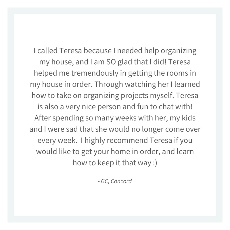 Learn how to organize your home from Charlotte professional organizer Teresa Fetch testimonial