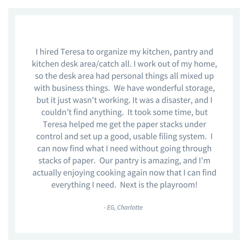 Custom pantry organizing in Charlotte NC Custom Organizing by Teresa Fetch testimonial