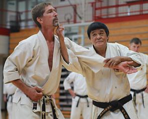 O'Sensei Tadashi Yamashita is the head of Midwest Karate Academy. He founded the dojo in 1964. O'Sensei lives in California, and runs dojos worldwide. O'Sensei returns to Mishawaka routinely to teach us. He is seen here at his 50th dojo anniversary seminar.