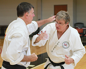 Kyoshi Jerry Wrobleski (right) ran Midwest Karate Academy from 1977 to 2016, when he retired from day to day operations. He continues to teach, and is currently 9th Degree Shorin-ryu Karatedo and 6th Degree Kobudo (weapons). He is seen here training with Kyoshi John Sorg, also 9th Degree.