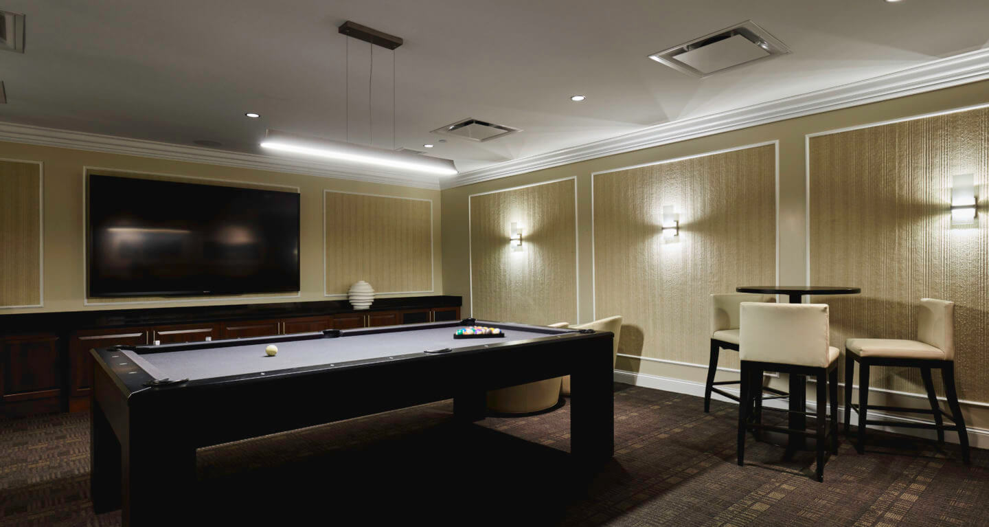 Sky Club includes billiards parlor and game room.