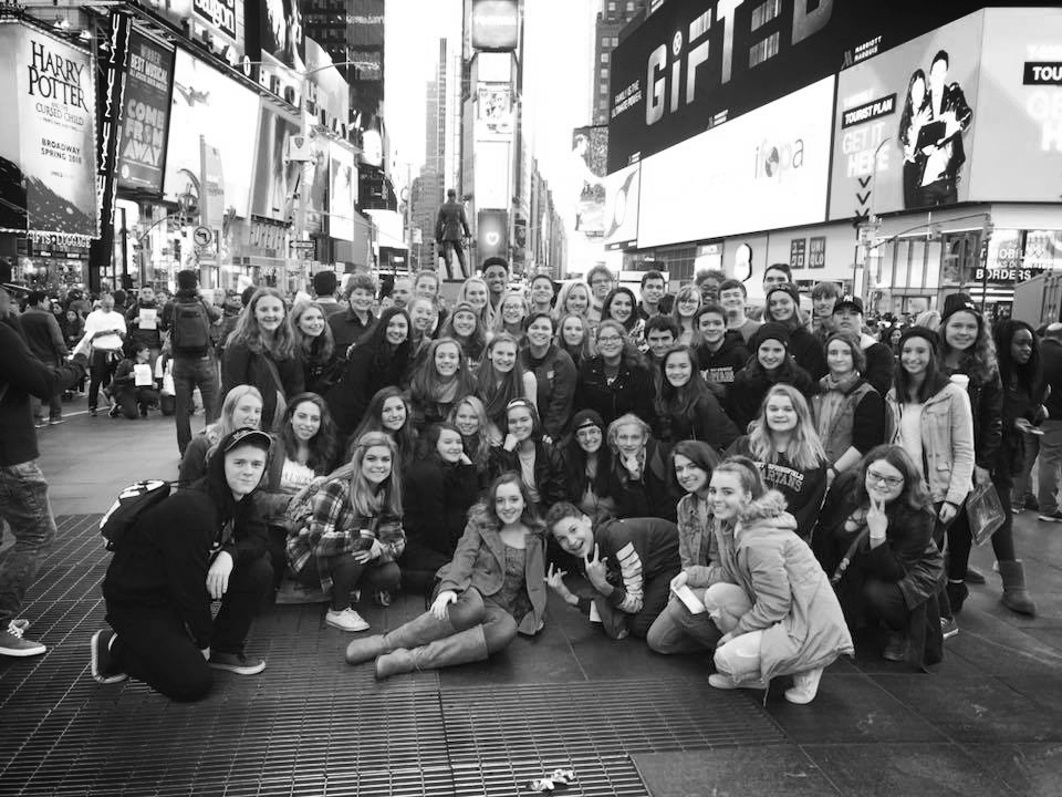 Annual New York Trip - Every year, students enrolled in theatre classes are invited to travel as a group to NYC! Trip includes two Broadway shows, a workshop, dinner, and a bus ride there and back. Please note that spots are made available to Theatre and Tech 2 - 4 first, then remaining spots are opened to Theatre and Tech 1s.