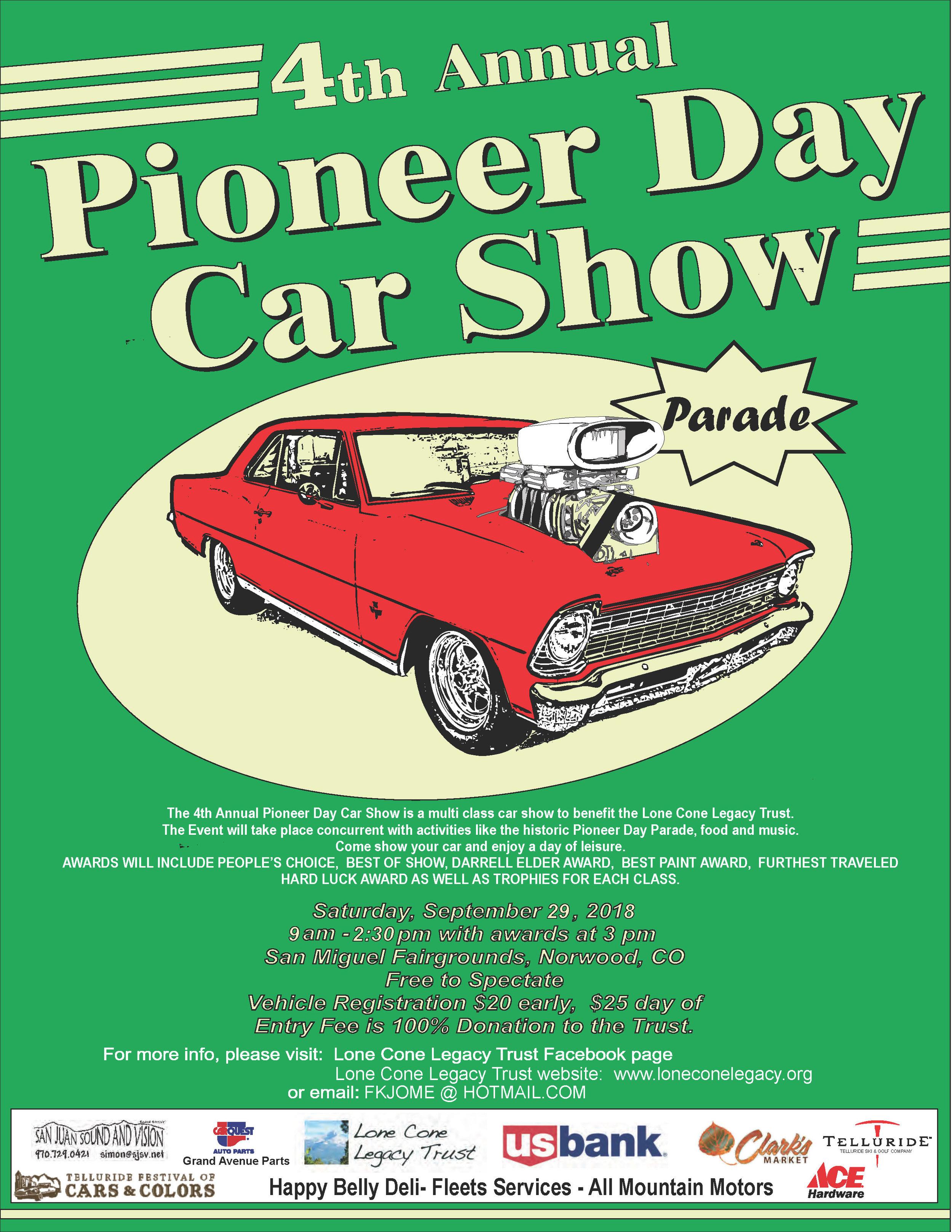 Lone Cone Legacy Trust 4th Annual Pioneer Day Car Show