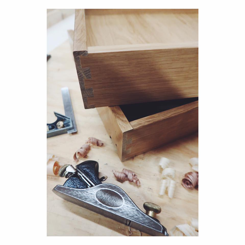 Handmade dovetail draws ready to go into one of our freestanding kitchen units.
