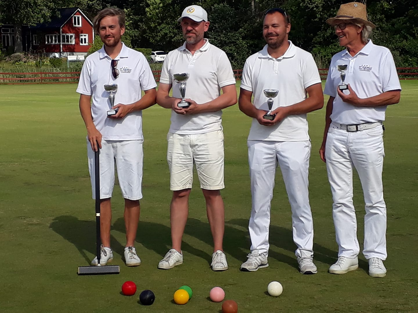 "Swedish Championship in Golf Croquet has come to an end. Joi from Carpe Croquetum Croquet Club finished second whilst his father finished as 9th and by doing so wins the plate.  As Eje himself expresses it: ""It's better to end up 9th, rather than 4th. At least you get a prize. He chuckles"""
