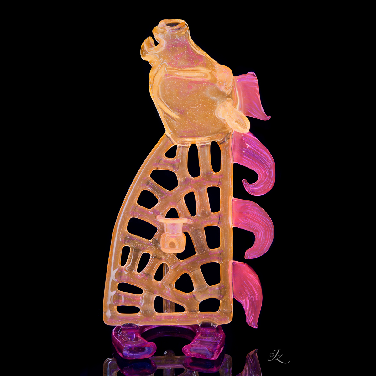 """A Collaboration with Justin Knöferl, entitled """"Lucky Peach Pegasus"""" it can be viewed currently at Illuzions Glass Gallery in Denver, CO"""