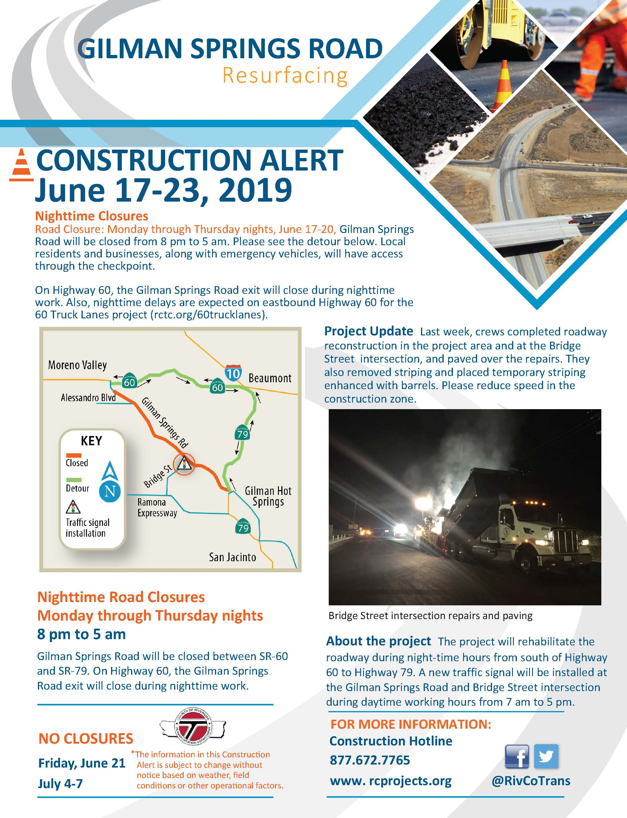 Construction Alert flyer for June 17-23, 2019