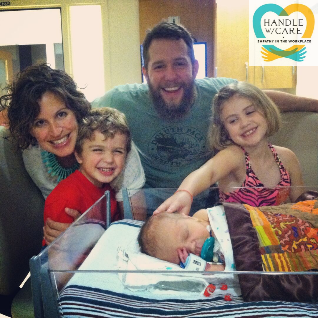 Mama, Papa, Ada, and Magnus with Moses in Riley Hospital