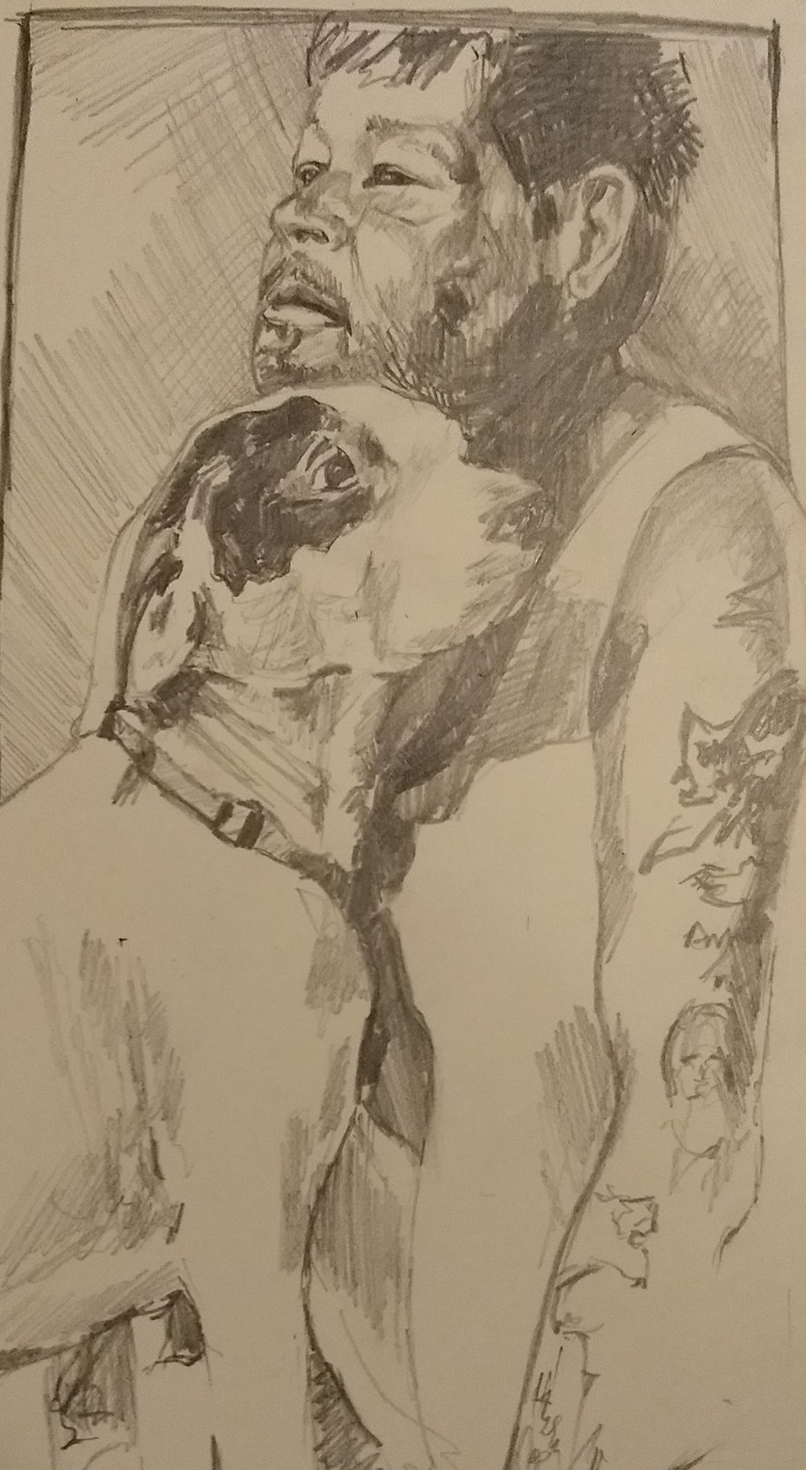 We love this drawing by our Cadence friend, Tim Stewart,of Tim and his dog, Patch.