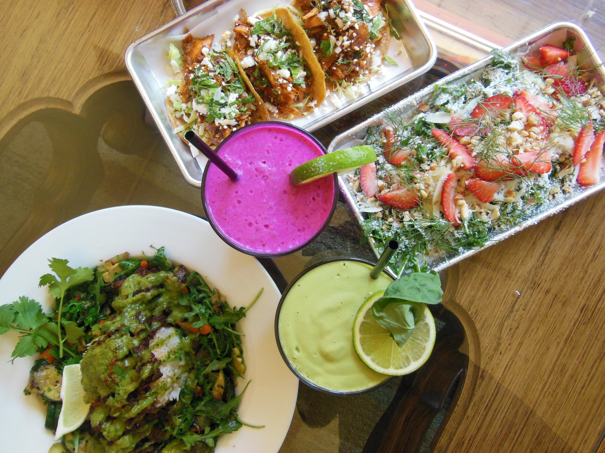 Pina Pitaya Smoothie (pink)  Bas-A-Loupe Smoothie (green)  Vegan Power Bowl  Chicken Tacos