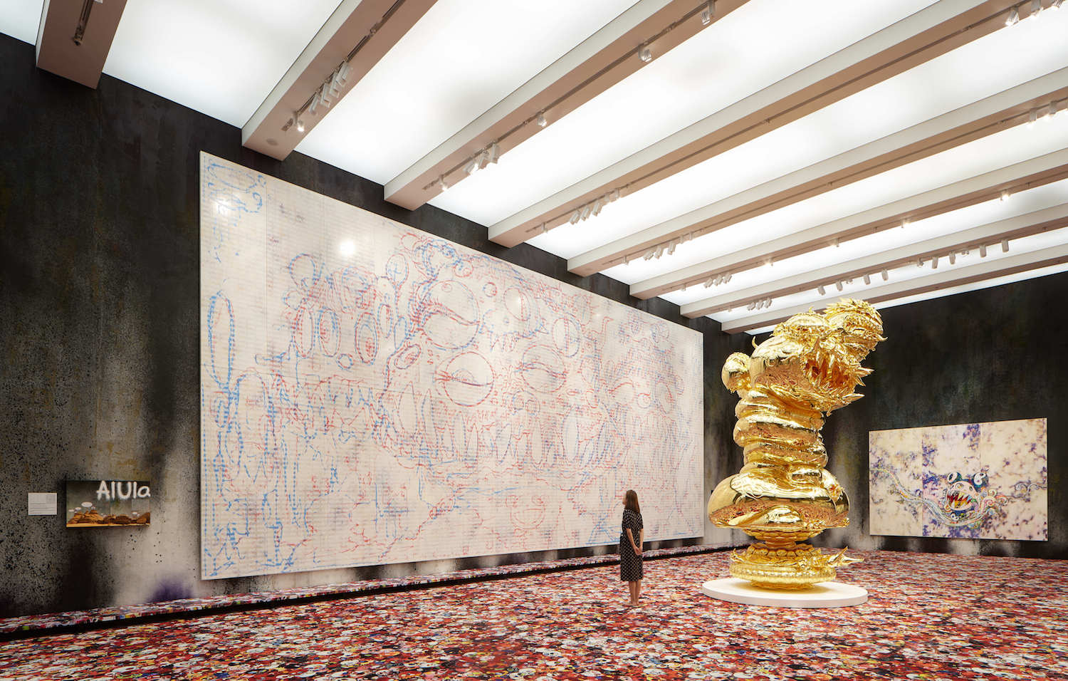 Installation view, which includes  The Birth Cry of a Universe  (center right), (2005–19). © Takashi Murakami/Kaikai Kiki Co., Ltd. All Rights Reserved. Photo: Kitmin Lee.