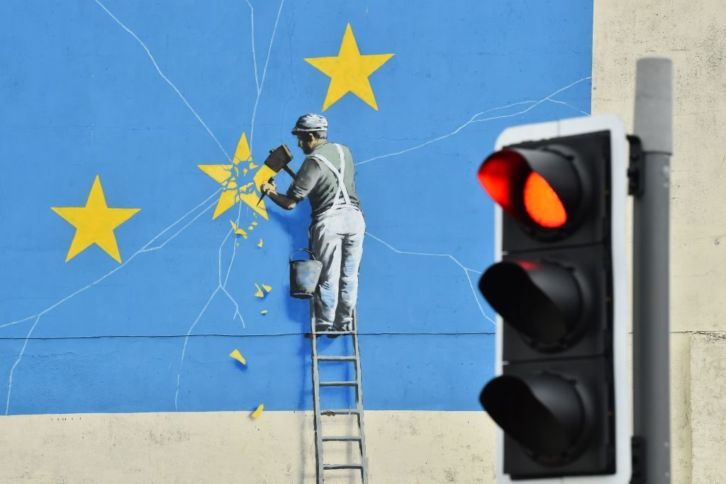 Banksy's Dover mural. Photo by Glyn Kirk/AFP/Getty Images.