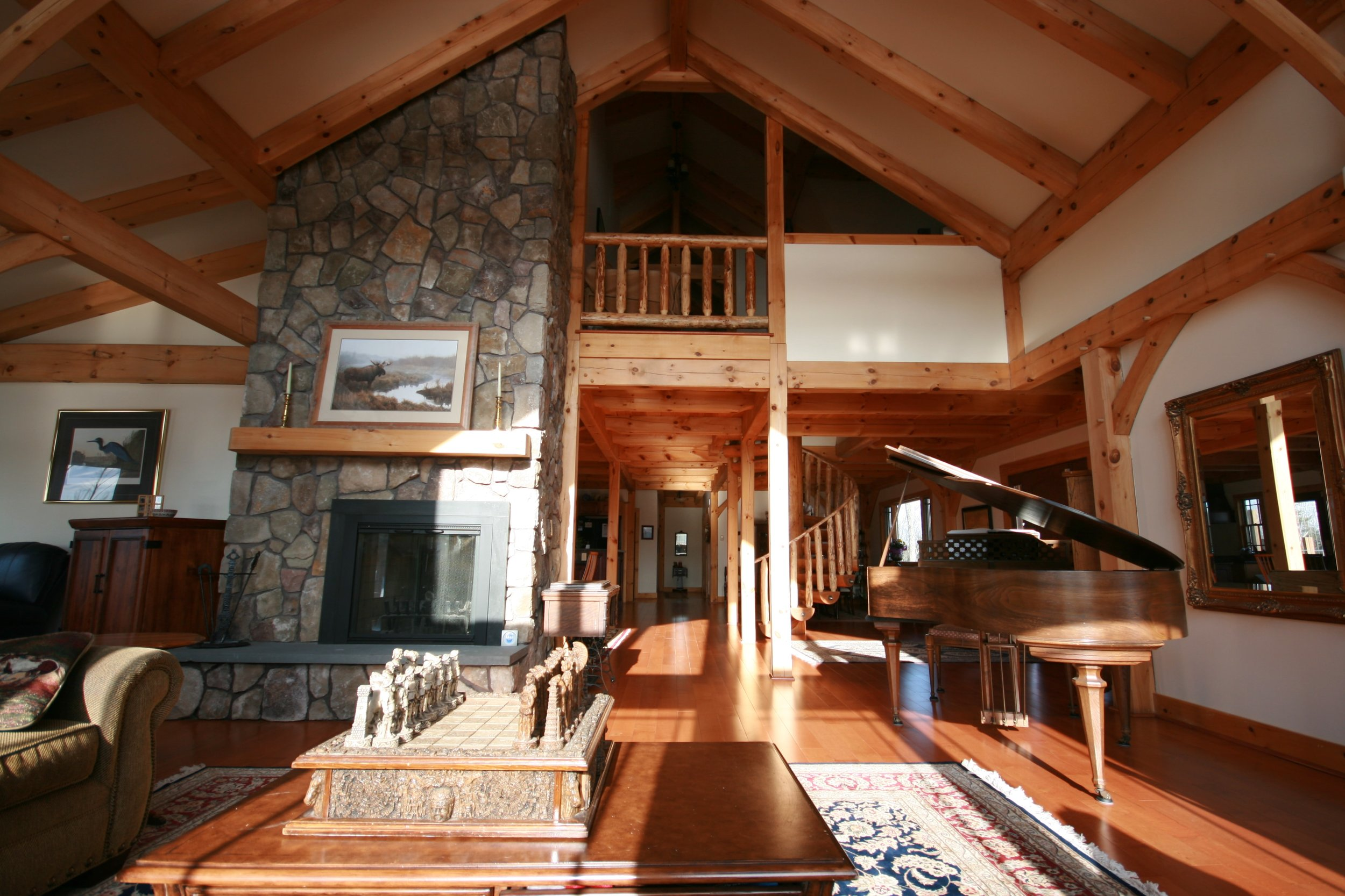 Dramatic spaces are common in timber frame homes.