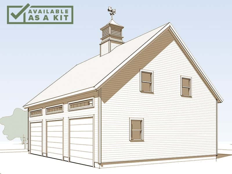 The Whiteface - 28' X 36', 2,080 sq ftThis 28' x 36' design comes in the shape of a historic barn, complete with a cupola, but is configured for three-bay parking. The sizable loft can be used for storage, or as a large office or workout area.Details