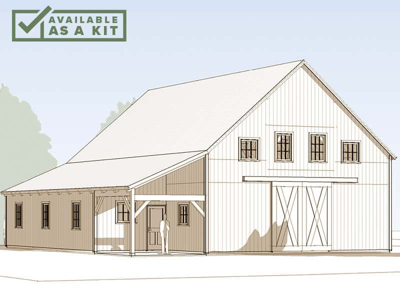 "The Cannon - 48' 6"" X 44' 6"", 3,734 sq ftOne of our larger barn kits, at 3,734 square feet, The Cannon works well on a large lot or farm setting. It's designed to serve many purposes at once, from housing livestock and heavy equipment to accommodating office space and lots of storage.Details"