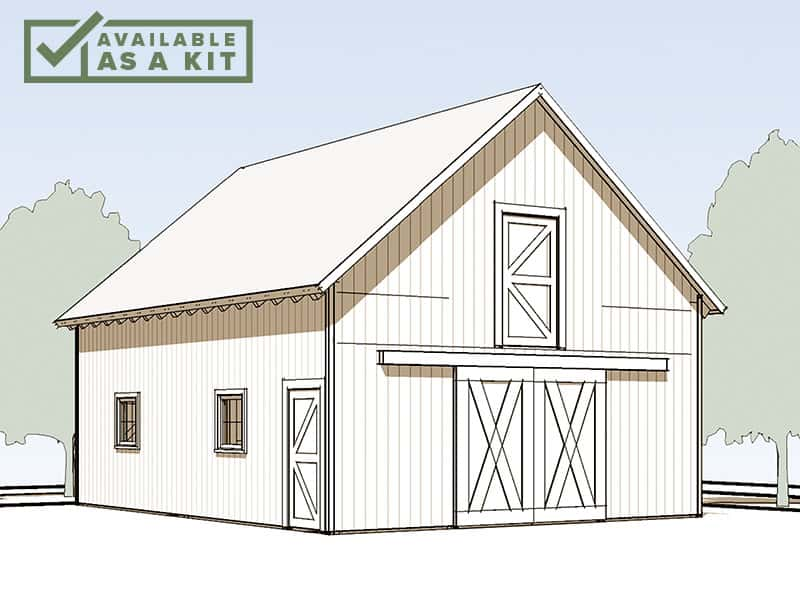 The Haystack - 24' X 32', 1,592 sq ftThe Haystack is a mid-sized 1-1/2 story barn or garage, with a full 2nd-floor loft. At 24' x 32', it is well suited to a smaller lot, but offers plenty of room above for storage, a workshop, or a play area. Rolling doors work well for equipment or mounted riders.Details