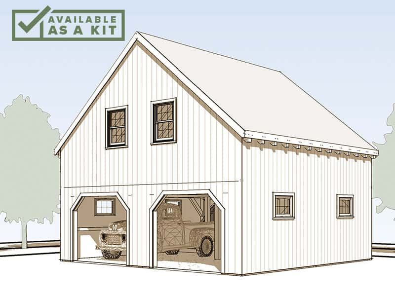 "The Attitash - 24' 6"" X 24' 6"", 1,200 sq ftThe Attitash is a mid-sized 1-1/2 story barn or garage, with a full 2nd-floor loft. At 24 feet square, it is ideal for a smaller lot, or for use as an attached or detached garage. There's plenty of room above for storage, workshop, or play area.Details"