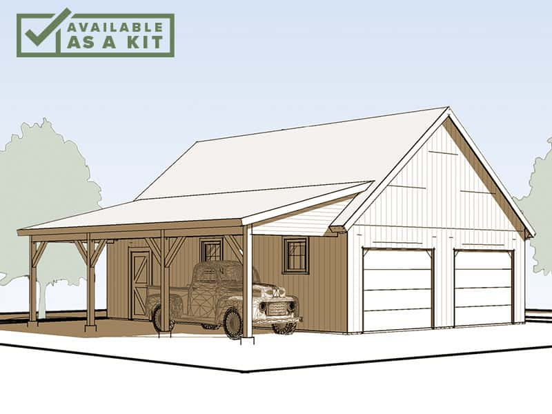 "The Lincoln - 36' 6"" X 22' 6"" sq ftThis versatile building is ideal for a garage, shop, stable, or even a studio or office. The Lincoln is a 1-story barn with loft storage space above. It includes a 10-foot-wide lean-to shed roof to shelter vehicles, vehicle, equipment or livestock.Details"