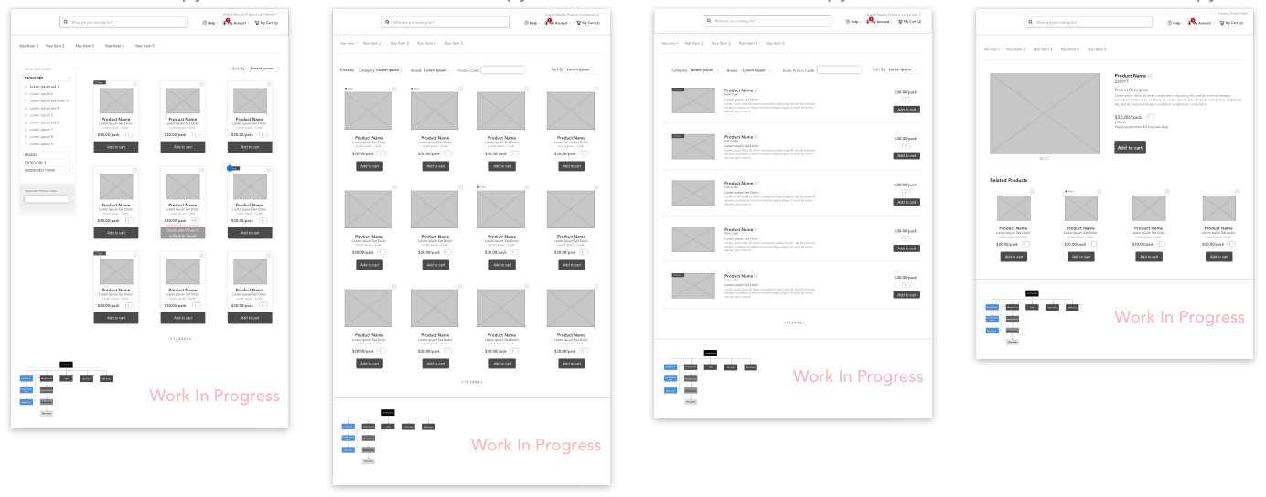 Wireframes for Sprint 1: Discovery related to browsing and searching