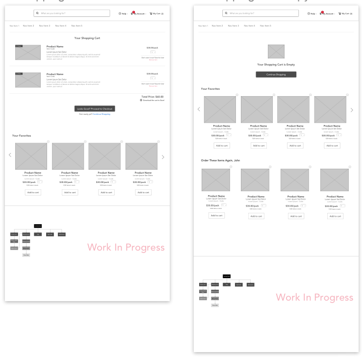 Some of the shopping cart wireframes created for Sprint 3