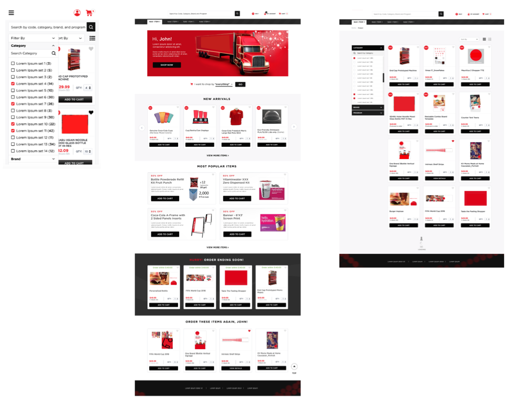 Some of the visuals created for mobile views, home page and filter/browsing