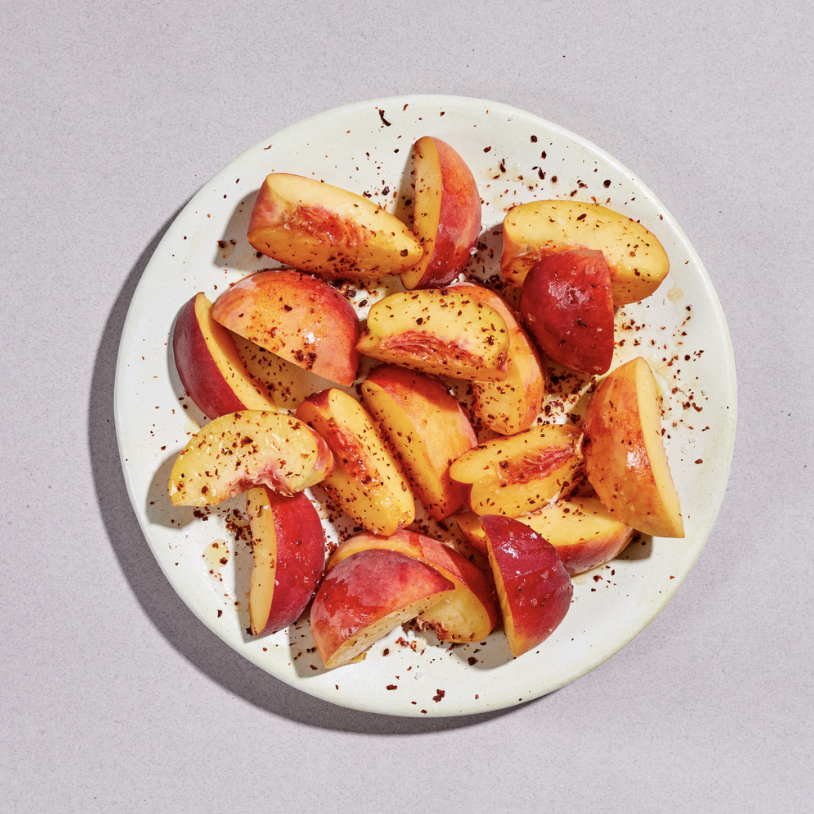 Peaches with silk chili and lime -