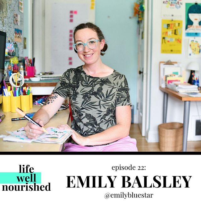 Creator's Week continues on the podcast!⁣ ⁣ I'm joined in today's episode by @emilybluestar, a talented illustrator with a heart of gold. We had a lively conversation about Emily's journey to becoming a professional artist, how she found her style, and the deep joy that comes from creating from a place of kindness and cheerfulness.⁣ ⁣ I'm kind of a big fan of Emily's work, so I tried to keep it cool during our convo and I think I mostly did ok. 😉⁣ ⁣ Listen to our conversation at the link in profile, or search for Life Well Nourished in Apple Podcasts or Spotify. ⁣ ⁣ ⁣ ⁣ 📷: @nikkihansenphoto ⁣ #lifewellnourished #podcast #podcasting #art #illustrating #createwithjoy